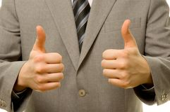 Thumbs up with both hands. Businessman showing everything is OK royalty free stock image