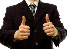 Thumbs up with both hands. Success in business stock photos