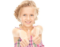 Thumbs up. Bright picture of lovely girl with thumbs upr royalty free stock photography