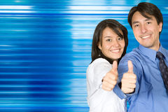 Thumbs up business  couple Royalty Free Stock Photos