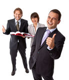 Thumbs up business people. Three happy businesspeople isolated on white, thumbs up, vertical stock images