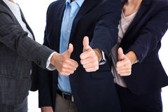 Thumbs up: business people making symbol for success, yes or par Royalty Free Stock Photo