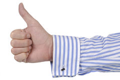 Thumbs Up, mans hand isolated on white background, business concept Royalty Free Stock Photography