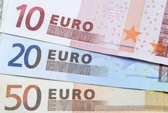 Euros, selection of different currency notes or bills Stock Photography