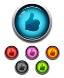 Thumbs-up button icon. Glossy thumbs-up like button icon set in 6 colors Royalty Free Stock Images