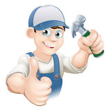 Thumbs up carpenter or builder. Illustration of a happy handyman, builder, construction worker or carpenter in work clothes holding a hammer and giving thumbs up Stock Photos