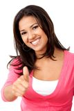 Thumbs up casual woman Royalty Free Stock Photography