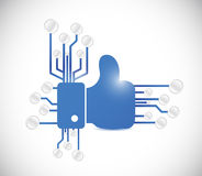 Thumbs up and circuit board connection Stock Image
