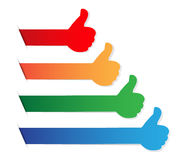 Thumbs up color blank tag Stock Photo