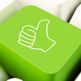 Thumbs Up Computer Key In Green Showing Approval And Being A Fan. Thumbs Up Computer Key Showing Approval And Being A Fan Stock Photo