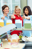 Thumbs up in dental laboratory Stock Images