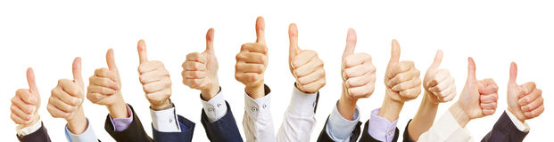 Thumbs up of different business people royalty free stock photography