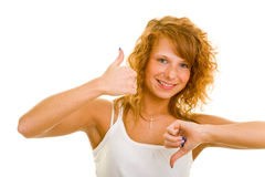 Thumbs up and down Royalty Free Stock Images