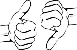 Thumbs up and down. Silhouette thumbs up and down Stock Images