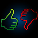 Thumbs up and down. Illustration of thumbs up and down on white background Royalty Free Stock Photo