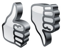 Thumbs up and down. Three-dimensional thumbs up and down symbols Stock Images