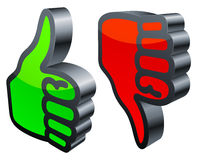 Thumbs up and down. Stock Photography