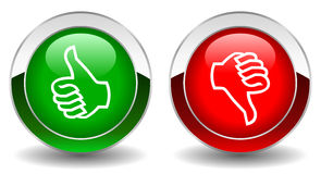 Thumbs up and down. Shiny vector buttons Stock Images