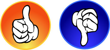Thumbs up & down buttons Royalty Free Stock Images