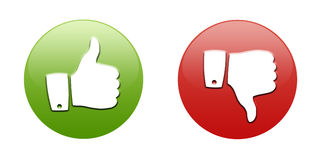 Thumbs up and down buttons. Illustration of red and green thumbs up and down buttons; isolated on white background