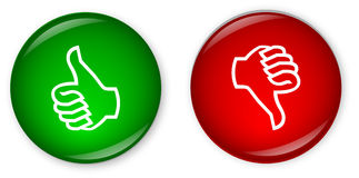Thumbs Up & Down Buttons. Web Buttons with Thumbs Up (green) & Down (red
