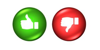 Thumbs up and down buttons like dislike red green. Thumbs up and down buttons like dislike Stock Photography