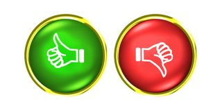 Thumbs up and down gold buttons like dislike red green. Thumbs up and down buttons like dislike Stock Image
