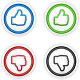 Thumbs up and down buttons Stock Photos