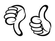 Thumbs up and down cartoon style. Isolated cartoon style of Thumbs up and down outline on white background Royalty Free Stock Photography