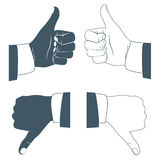 Thumbs up and down. Drawn by hands icons. Flat style Stock Photo