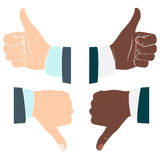 Thumbs up and down. Drawn by hands icons. Flat style Stock Photos