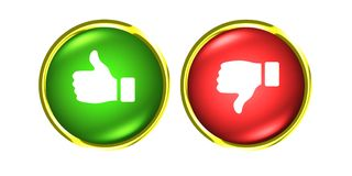 Thumbs up and down gold buttons like dislike red green. Thumbs up and down buttons like dislike Royalty Free Stock Image