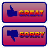Thumbs up and down great and sorry signs. Thumbs up great and thumbs down sorry illustration signs over a white background royalty free illustration