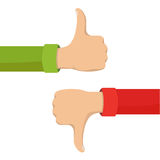 Thumbs Up and Down Hands Signs Vector Illustration. Two hands showing thumb up and thumb down signs. Positive and negative feedback, good and bad gestures, like Royalty Free Stock Photography
