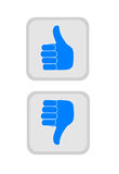 Thumbs up and down. Royalty Free Stock Photography