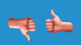 Thumbs up and down. Illustration of male hands with thumb up and down  on blue background Stock Images