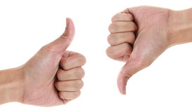 Thumbs up and down Royalty Free Stock Image