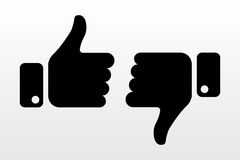 Thumbs up and down, like dislike icons for social network. Finger hands for soicial media. Vector illustration Stock Photo