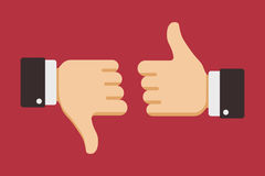 Thumbs up and down, like dislike icons for social network Royalty Free Stock Photo