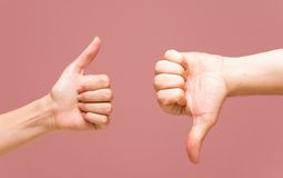 Thumbs up and down + PATH Royalty Free Stock Photography