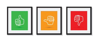 Thumbs up and down picture frames Royalty Free Stock Photography