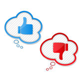 Thumbs Up and Down Symbols. Speech bubbles with thumbs up and thumbs down symbols Royalty Free Stock Image
