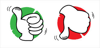 Thumbs up and down. Two illustrations: thumbs up and down Royalty Free Stock Photography