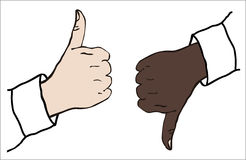 Thumbs up and down. Thumbs white hand up and black hand down stock illustration