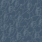 Thumbs up. Drawn by hands seamless pattern. Flat style Royalty Free Stock Photo