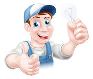 Thumbs up electrician light bulb Royalty Free Stock Photography