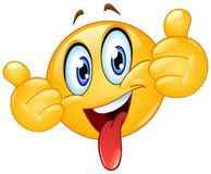 Thumbs up emoticon with tongue out royalty free illustration