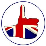 Thumbs Up England. A Union Jack hand giving the thumbs up sign all over a white background Royalty Free Stock Images