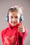 Thumbs up! Everything is awesome! stock photos