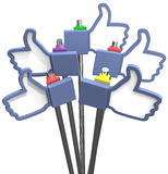 Thumbs up facebook like us icons. Group of social media thumbs-up facebook like us icons as signs royalty free illustration
